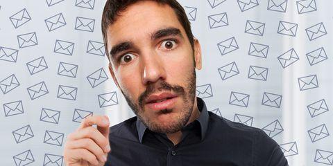 man checking email