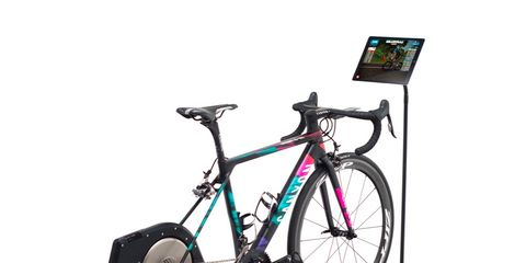 road bike set up on trainer for zwift