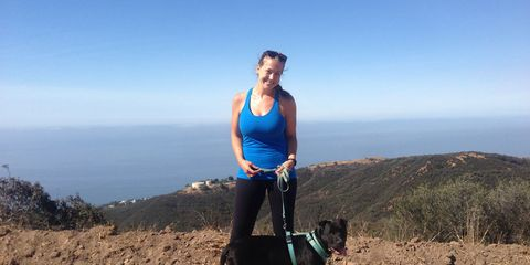 Vegan Amy Bauer hikes with her dog