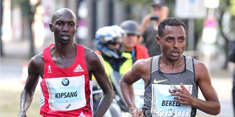 Kenenisa Bekele and Wilson Kipsang at the 2016 Berlin Marathon