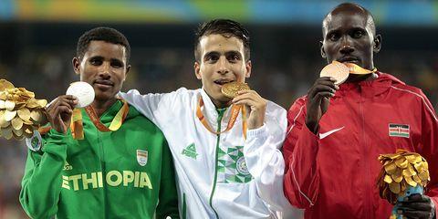 Tamiru Demisse, Abdellatif Baka, and Henry Kirwa at the 1500 meters at the Paralympics.