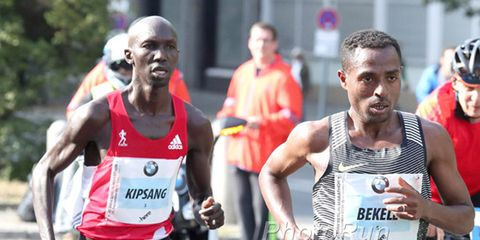 Bekele and Kipsang at the 2016 Berlin Marathon.