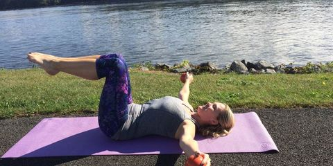 Tone your arms while lying down