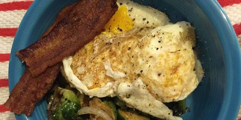 Bacon, eggs, and Brussels sprouts