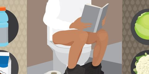 Sitting on the toilet with a book