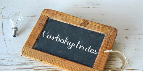 Sign saying carbohydrates.