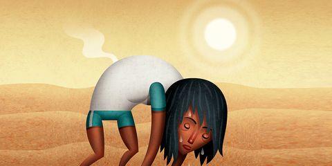 Dehydrated runner in the desert