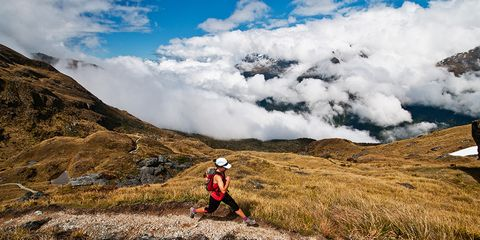 A runner on hills in New Zealand