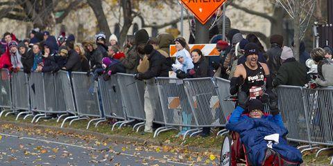 pushing running marathon for awareness