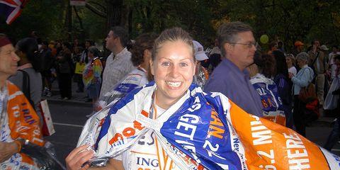 Jessica Wozinsky finishing her first New York Marathon in 2005