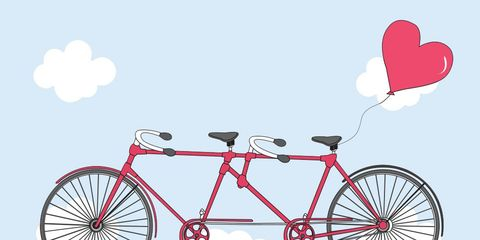 tandem bike with heart balloon