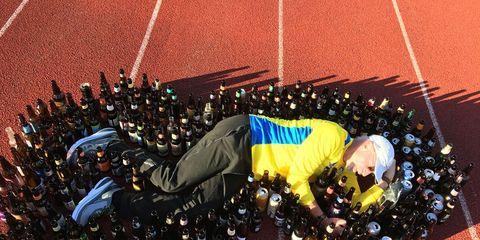 Tim Kliegl on track with beer bottles
