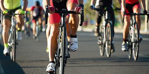 cyclists exercising in a group