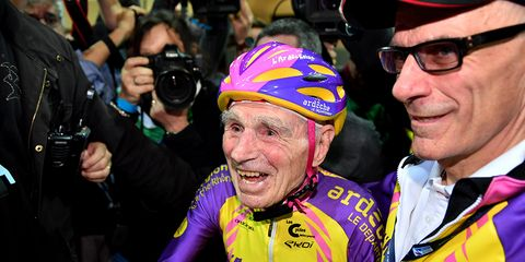 105-year-old Frenchman pedals into history books.