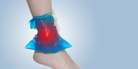 ice therapy on ankle
