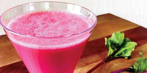 Drink, Health shake, Magenta, Juice, Pink, Leaf, Tableware, Liquid, Vegetable juice, Ingredient,