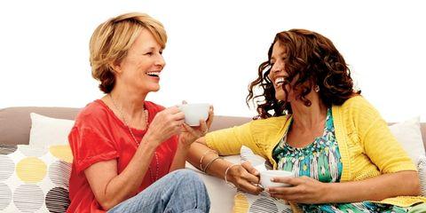 Comfort, Happy, Sitting, Interaction, Sharing, Conversation, Denim, Necklace, Lap, Drinking,