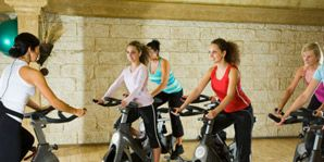 Indoor cycling, Exercise machine, Balloon, Community, Stationary bicycle, Leisure, Physical fitness, Exercise, Bicycle, Exercise equipment,
