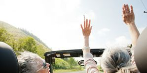 Motor vehicle, Eyewear, Vision care, Photograph, Steering part, Steering wheel, Tourism, Automotive mirror, Gesture, Travel,