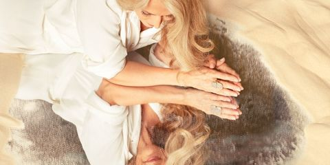 Comfort, Interaction, Love, Gesture, Romance, Blond, Long hair, Painting, Hug, Blessing,