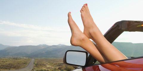 Automotive mirror, Finger, Road, Toe, Glass, Summer, Automotive side-view mirror, Rear-view mirror, Nail, Windshield,