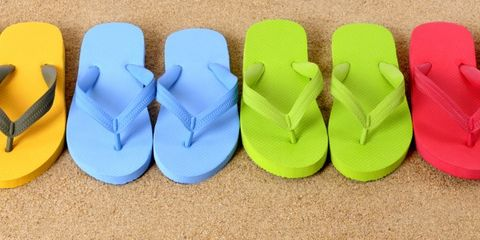Yellow, Shoe, Slipper, Flip-flops, Synthetic rubber, Musical instrument accessory,