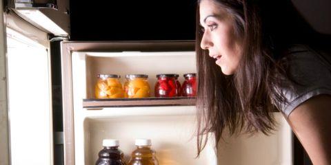 Major appliance, Freezer, Refrigerator, Bottle, Drink, Kitchen appliance, Home appliance, Liquid, Black hair, Long hair,
