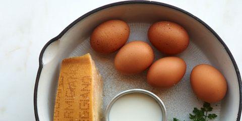Food, Ingredient, Bread, Breakfast, Egg, Tan, Peach, Serveware, Baked goods, Orange,