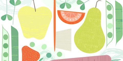 Green, Produce, Fruit, Leaf, Line, Natural foods, Ingredient, Peach, Vegan nutrition, Strawberries,