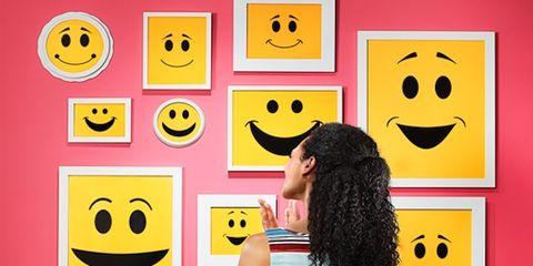Yellow, Hairstyle, Emoticon, Happy, Smiley, Facial expression, Icon, Circle, Sleeveless shirt, Active shirt,