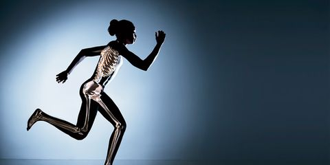 Silhouette of woman running
