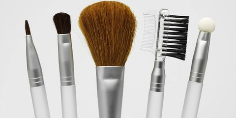 Brush, Beauty, Cosmetics, Makeup brushes, Paint brush, Silver, Stationery, Personal care, Steel,