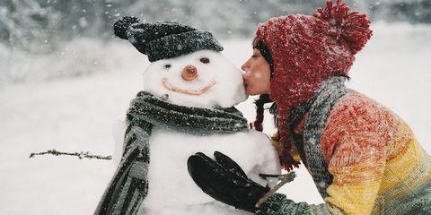 Winter, Snow, Interaction, Headgear, Snowman, Costume accessory, Freezing, Love, Precipitation, Wool,