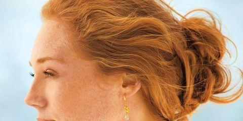 Ear, Earrings, Lip, Cheek, Hairstyle, Skin, Chin, Forehead, Eyebrow, Body piercing,