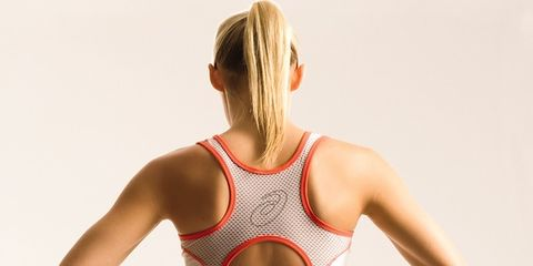 Shoulder, Joint, Sportswear, Active tank, Neck, Undergarment, Blond, Undershirt, Back, Swimwear,