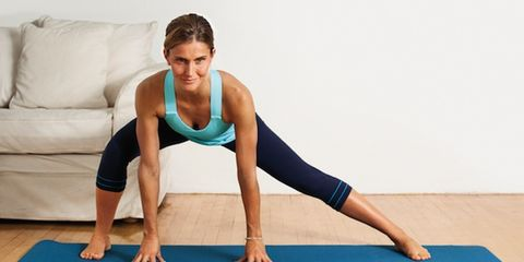 Physical fitness, Shoulder, Human leg, Exercise, Elbow, Flooring, Joint, Wrist, Couch, Active pants,