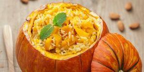 vegetarian meal; stuffed pumpkin