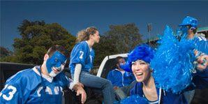 Blue, Fun, Social group, Community, Bowl, Electric blue, Tableware, Cobalt blue, Mixing bowl, Costume,
