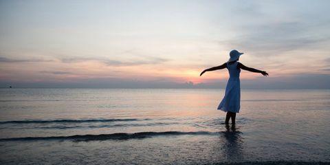 Sky, Cloud, Standing, Rejoicing, People in nature, Dress, Horizon, Ocean, People on beach, Dusk,