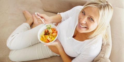 Smile, Comfort, Sitting, Cuisine, Blond, Dish, Linens, Salad, Meal, Couch,
