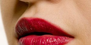 woman with full red lips