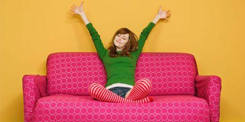 Green, Comfort, Human body, Hand, Purple, Couch, Magenta, Furniture, Pink, Sitting,