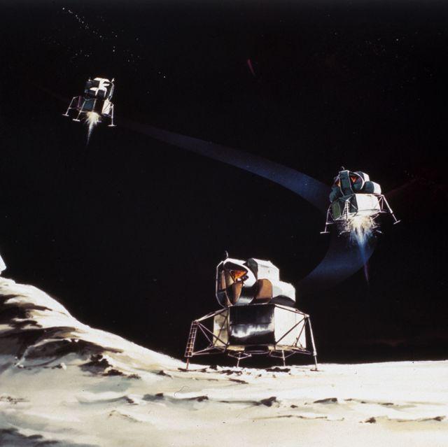 Drawing of Lunar Module descent, 1968.