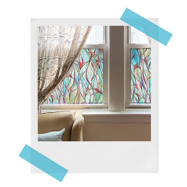 artscape stained glass window film on living room windows