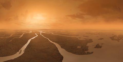 Artwork of River Delta on Titan, illustration