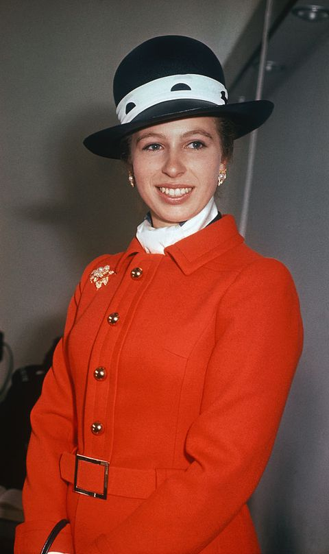 Princess Anne Wearing a Smart Hat and Red Coat