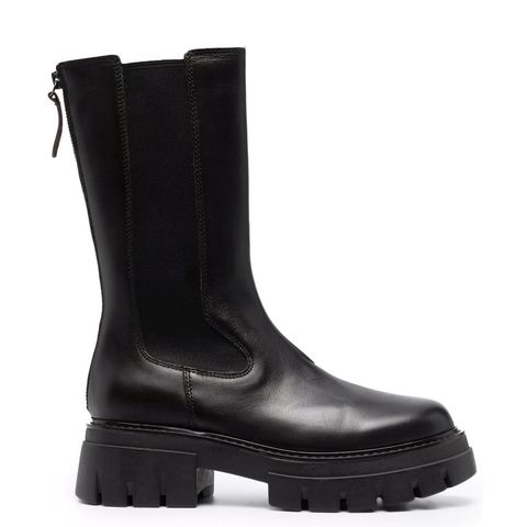 chunky boots ash zwart met grove zool