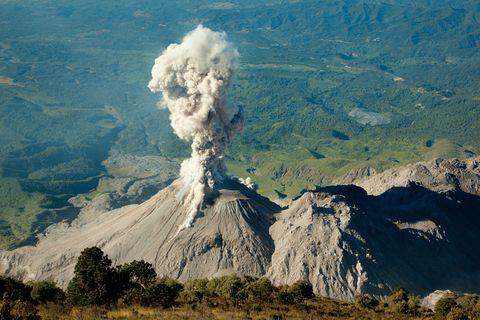 Ash eruption from Santiaguito volcano