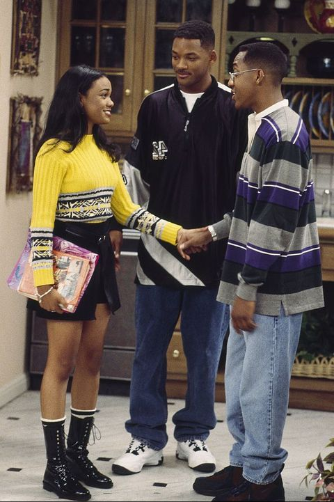 fresh prince of bel air, the    not with my cousin you dont episode 7    aired 11061995    pictured l r tatyana ali as ashley banks, will smith as william will smith, jaleel white as derek    photo by alice s hallnbcu photo bank