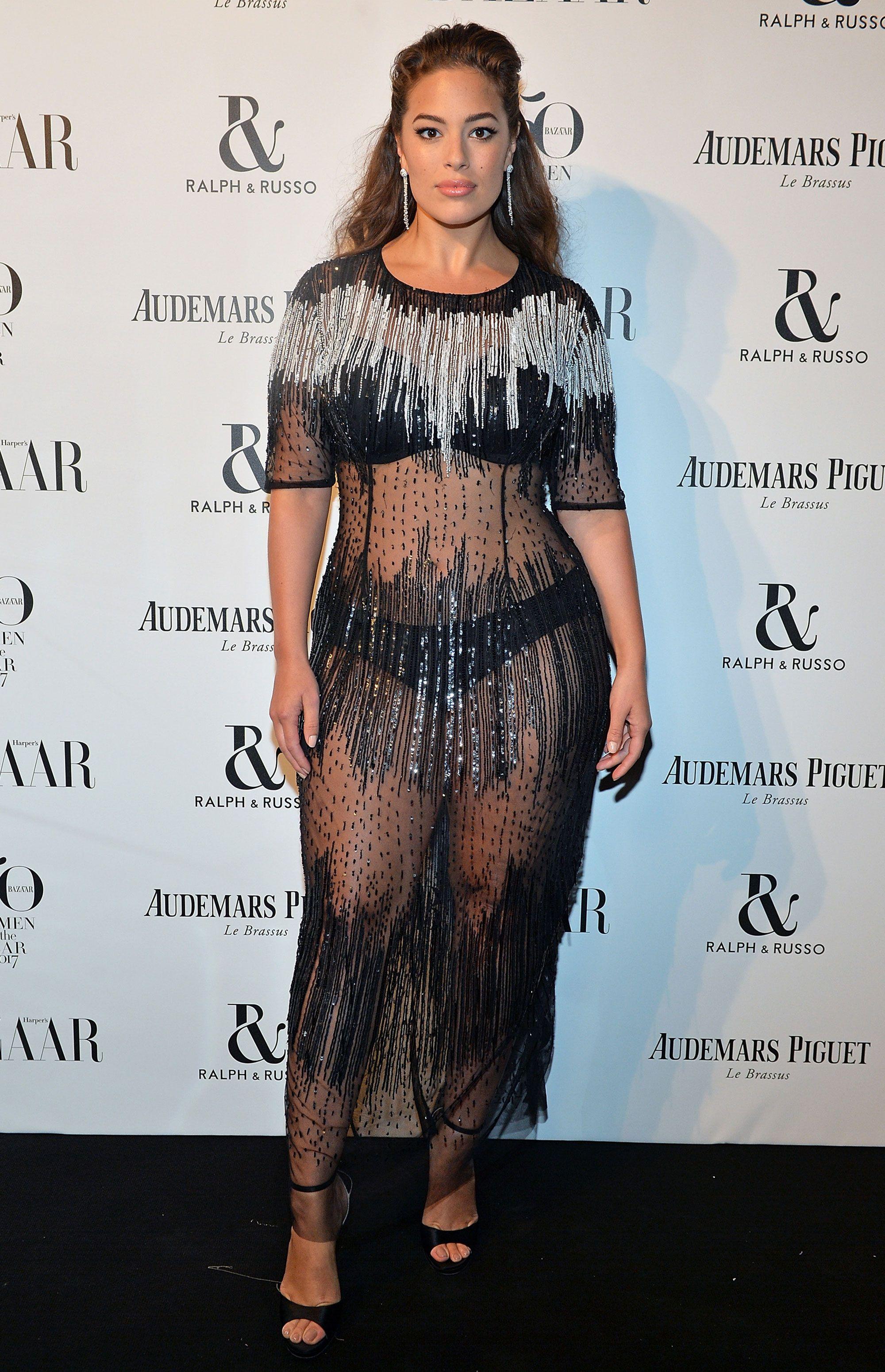 6b194f7d25 Ashley Graham's sheer dress at the Harper's Bazaar Women of the Year Awards  2017